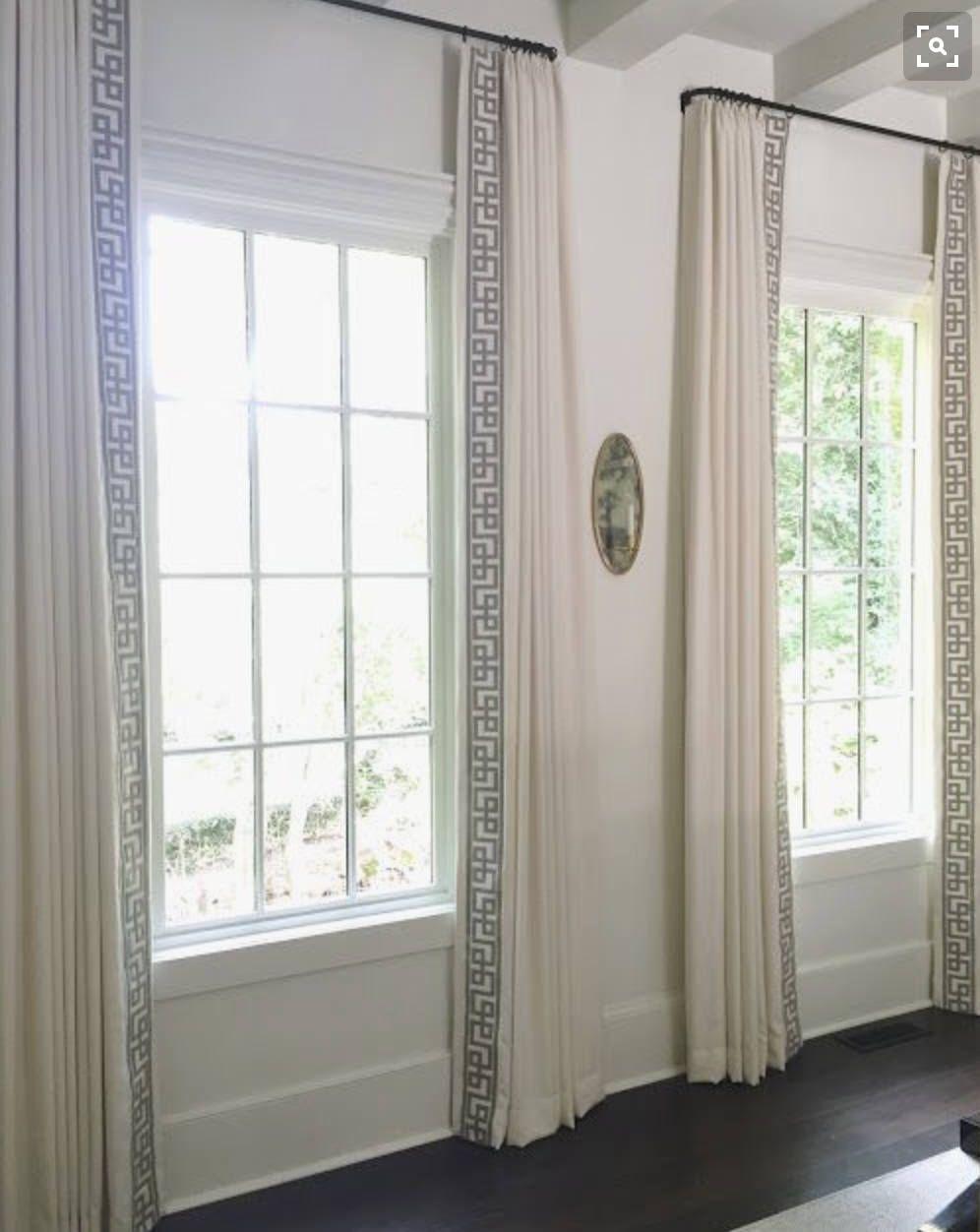 Greek Key Ribbon Trim Drapes Curtains Custom Lengths Extra