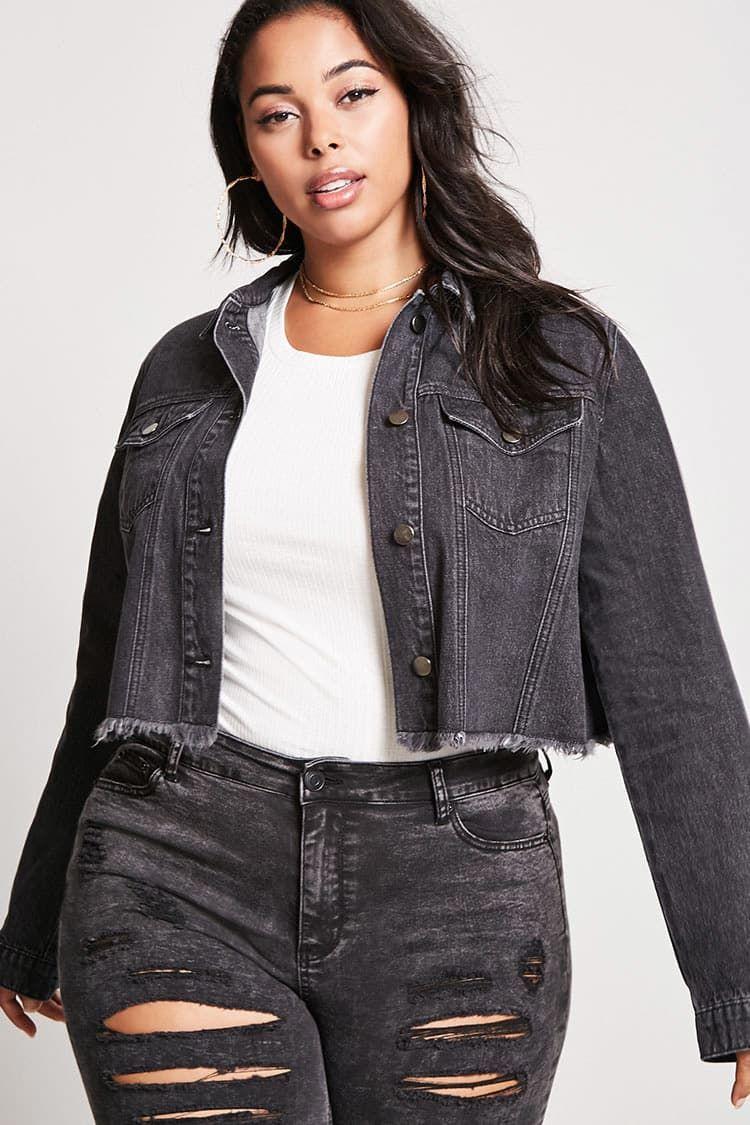 Product Name Plus Size Cropped Denim Jacket Category Plus Size Main Price 29 9 Fashion Plus Size Womens Fashion Boho Chic [ 1125 x 750 Pixel ]