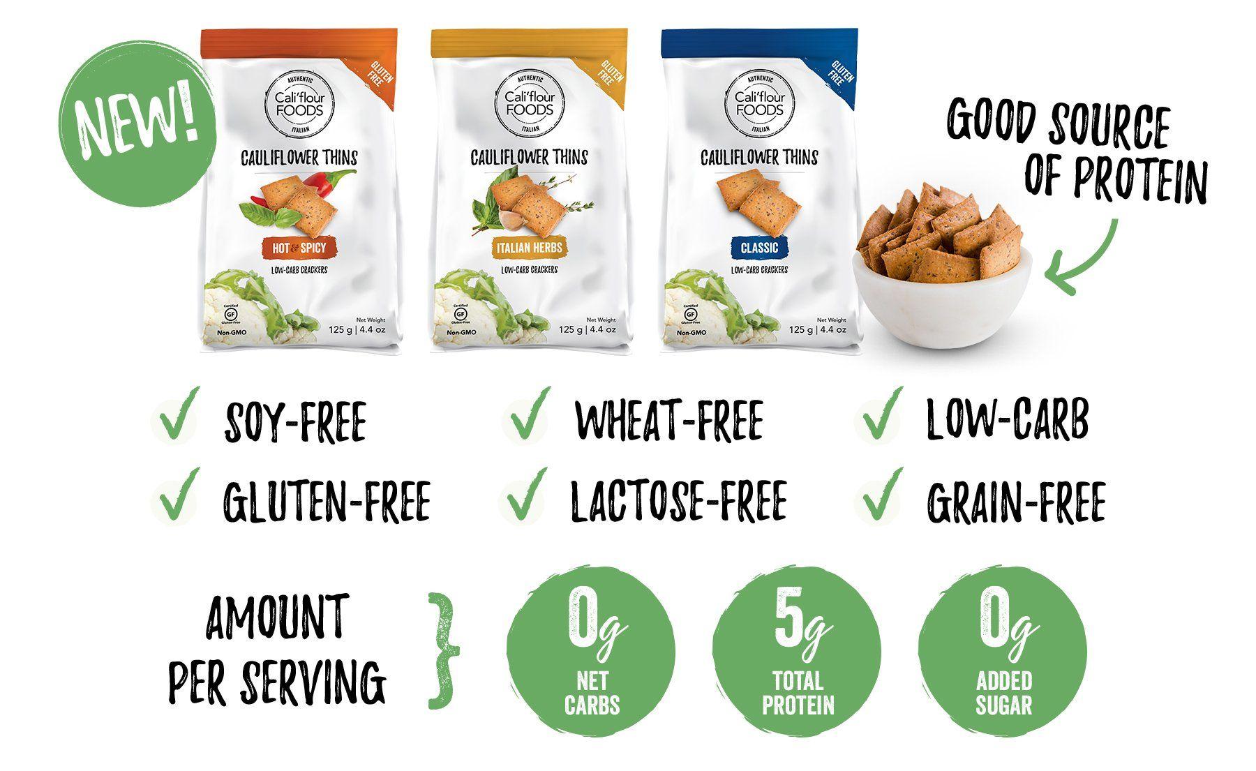 Cauliflower Thins Cali Flour Foods Spicy Almonds Gluten Free Grains Heart Healthy Diet