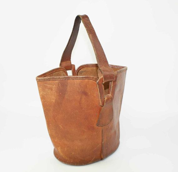 3b75fe90721c 50% Vintage NORRIS Brown Leather Bucket Bag 1940 50 s Hand Stitched ...