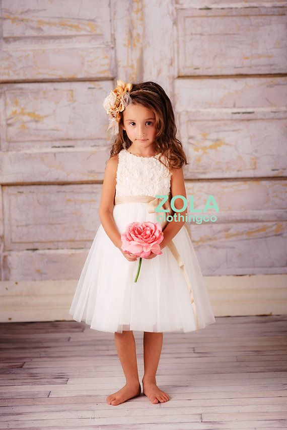 69827ced399 flower girl dress ivory by zolaclothingco on Etsy