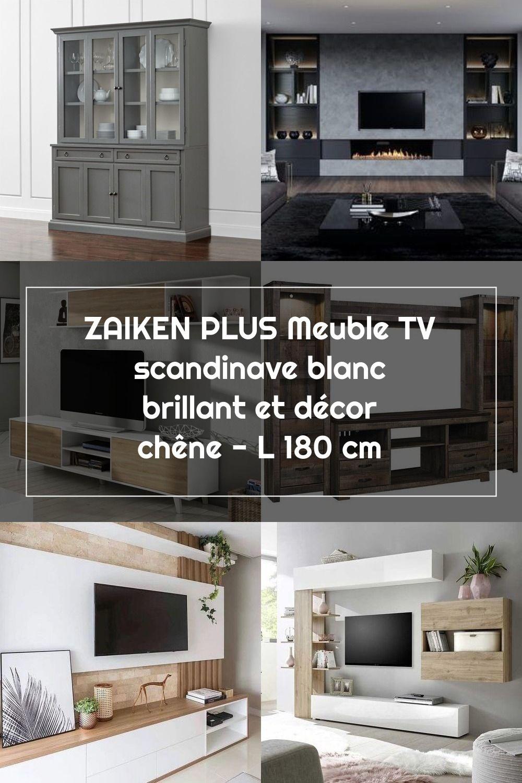 Zaiken Plus Meuble Tv Scandinave Blanc Brillant Et Decor Chene L 180 Cm In 2020 Wall Unit Flat Screen Wall