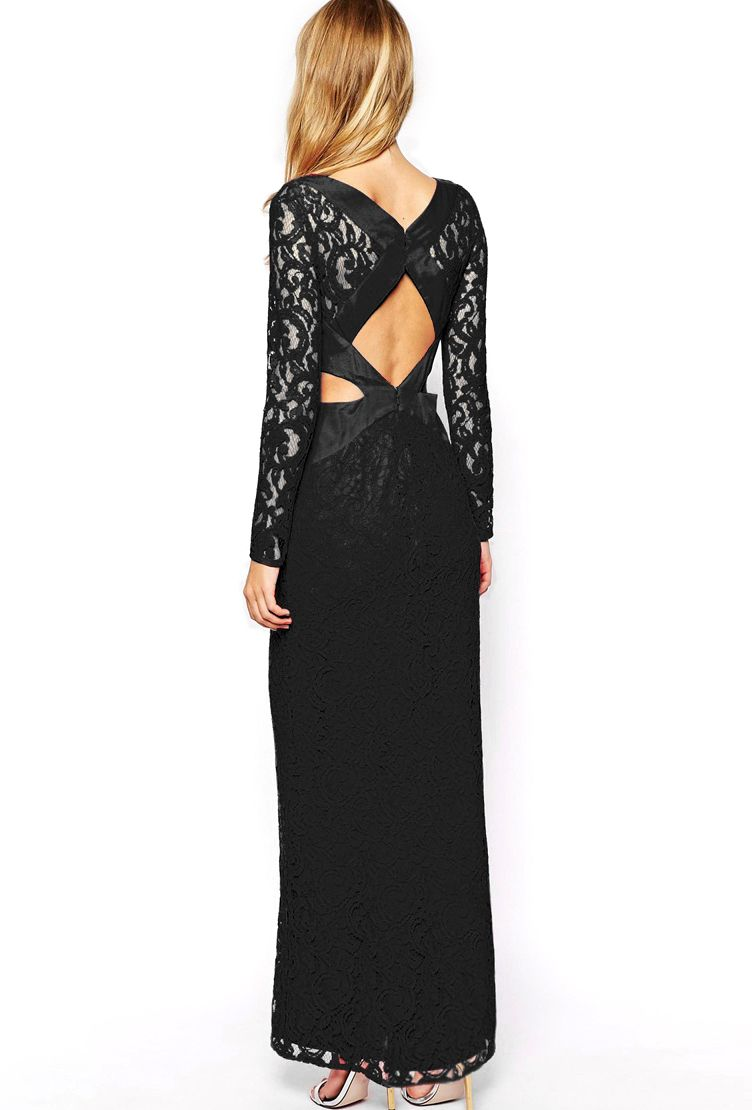Shop black long sleeve midriff lace maxi dress online sheinside