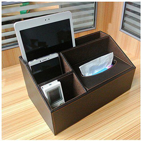 Go Home European Leather Napkin Box Desk Remote Control Organizer Pen Caddy Office Supplies
