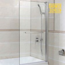 BN 6mm Glass 180° Pivot Square Framed Over Bath Shower Screen Door Panel with towel rail