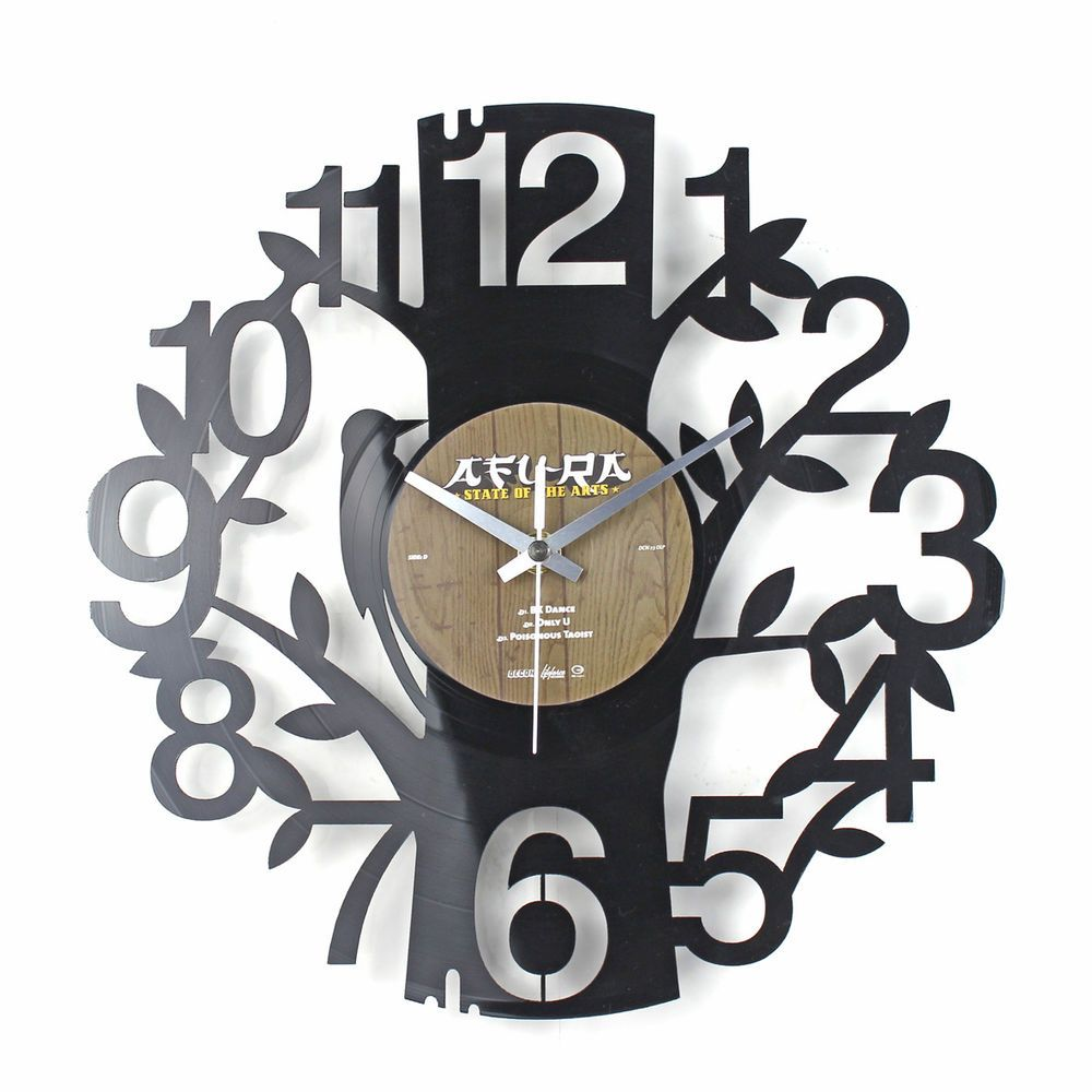 Stylish Unique Creative Vinyl Record Art Clock Wall Clock Numbers On The Tree Discos De Vinilo Relojes De Pared Relojes De Madera