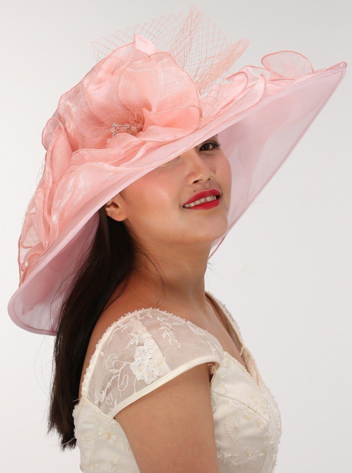 7ec3ed04b5 Wide Brim Organza Two Flowers with Rhinestones Dusty Pink Church Hat ...
