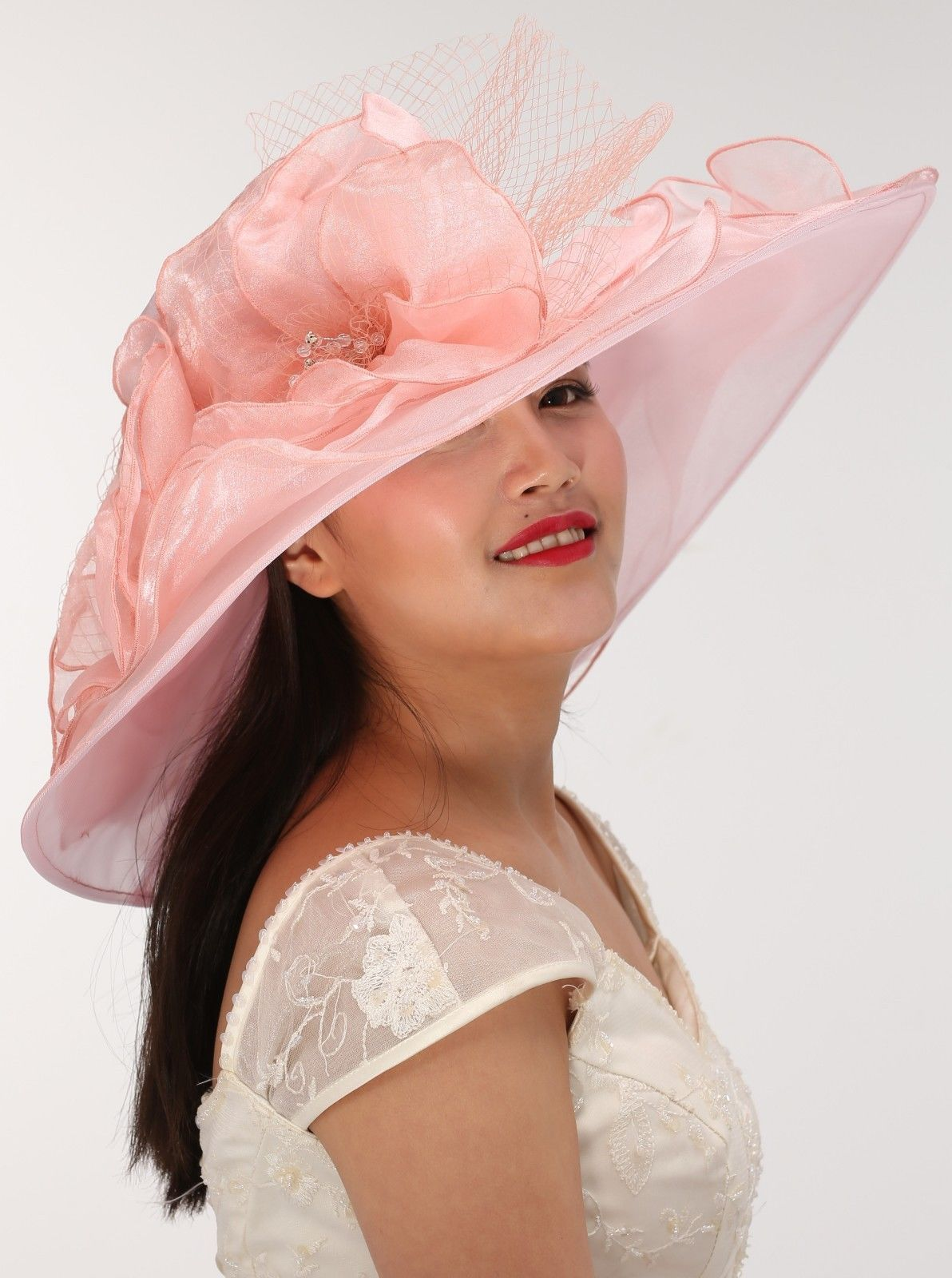 80d32aa5c Wide Brim Organza Two Flowers with Rhinestones Dusty Pink Church Hat ...