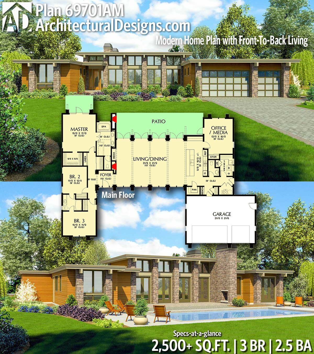 Plan 69701am Modern Home Plan With Front To Back Living In 2020 House Plans Modern House Plans Mid Century Modern House Plans