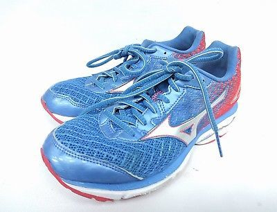 bec496d9f95 Mizuno Wave Rider 19 Running Shoe Palace Blue Silver Red Women s Size 7.5