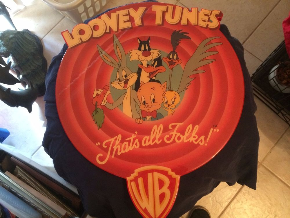 rare looney tunes thats all folks glazed wood wall plaque