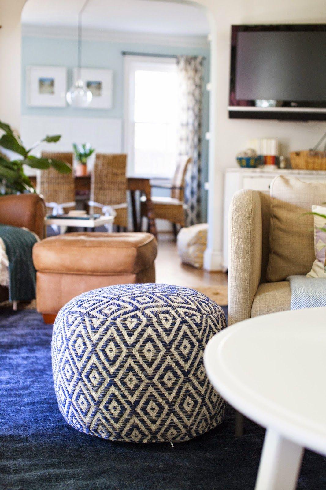 reveal: my living room   Pouf ottoman living room, Ottoman ...