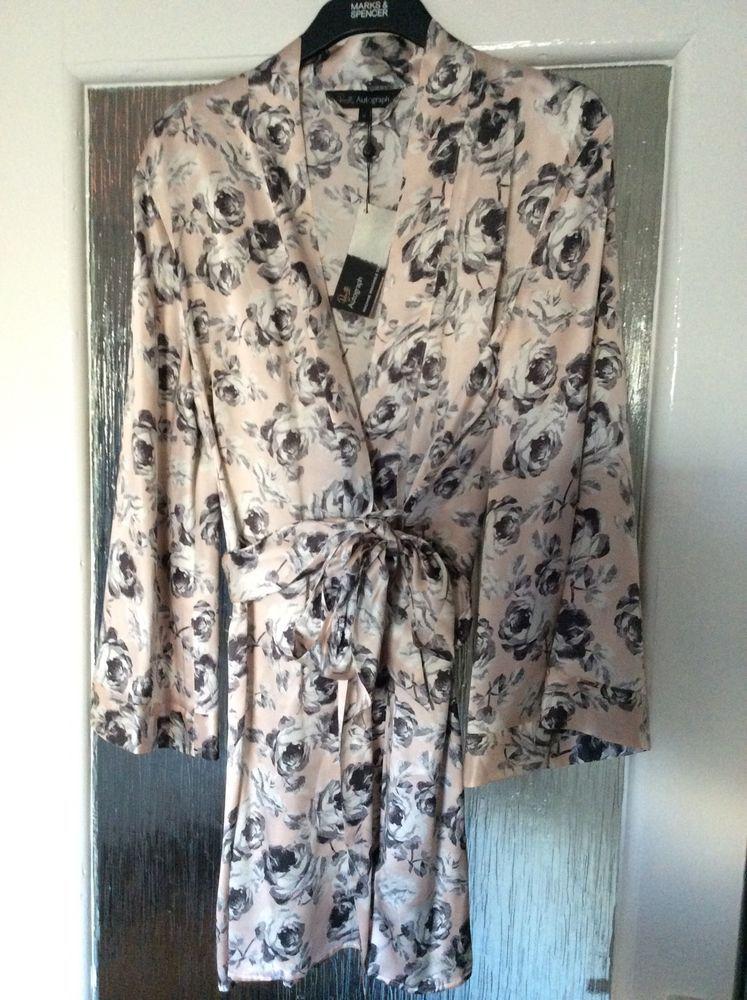 M&S ROSIE AUTOGRAPH ladies dressing gown 100%SILK UK14 L BNWT ...