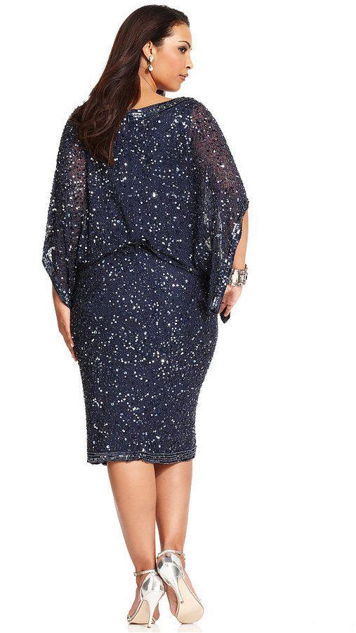 Patra Plus Size Kimono-Sleeve Beaded Dress 3 | Plus size ...