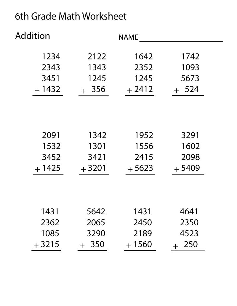 Sixth Grade Math Worksheets | Pre algebra worksheets, Math ...