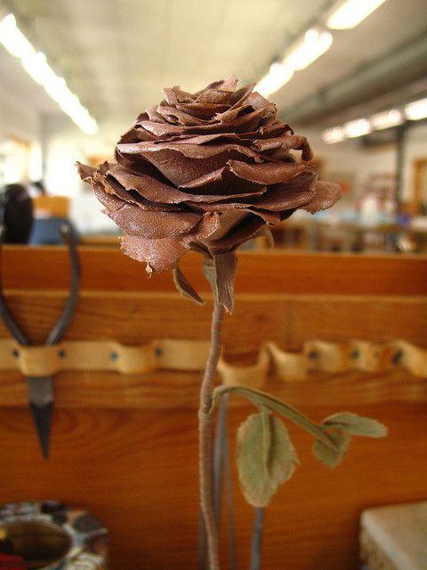 Leather rose - finished by learningtofly_katafalk, via Flickr