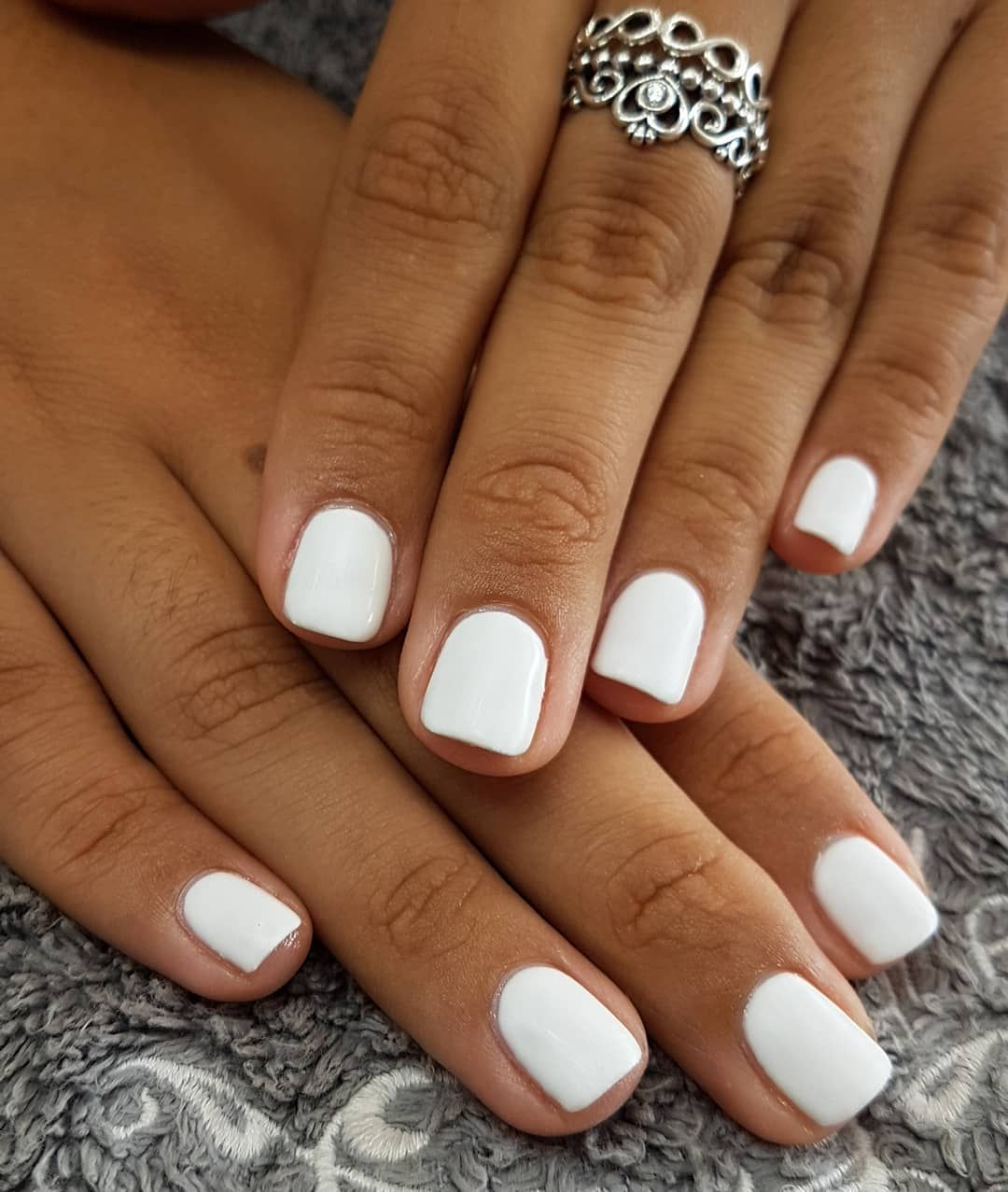 Image May Contain One Or More People And Closeup White Gel Nails Short Gel Nails