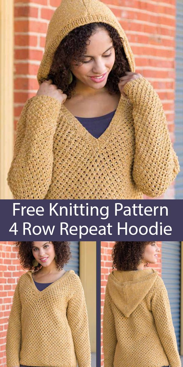 Photo of Free Knitting Pattern for 4 Row Repeat Peace of Mind Hoodie