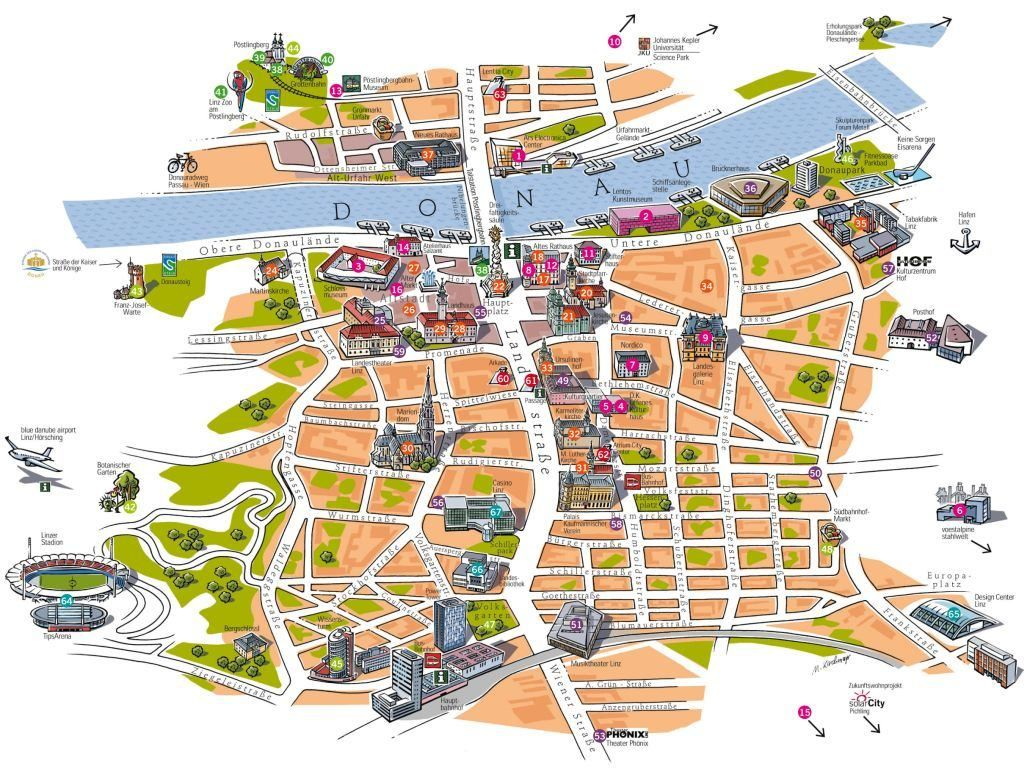 Linz tourist map danube waltz prague Pinterest Tourist map