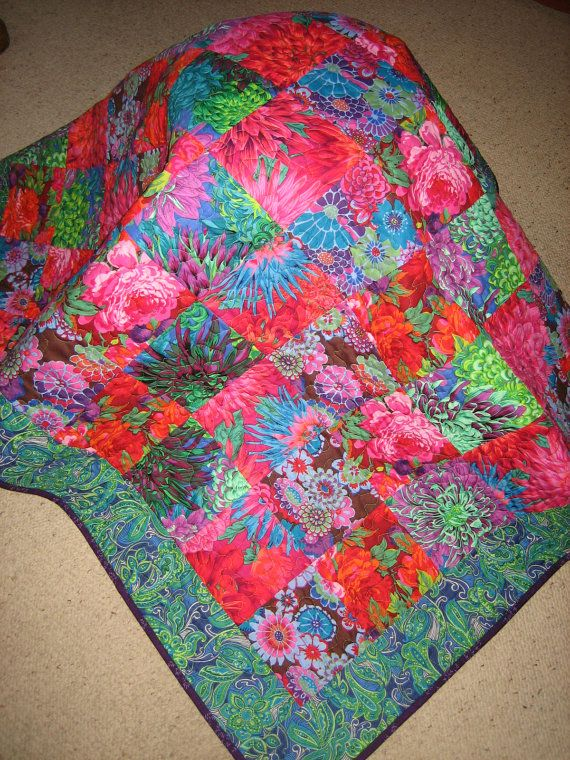 Lap Quilt, Kaffe Fassett Big Flowers in Blue Green Pink Red Large ... : big and bold quilt pattern - Adamdwight.com