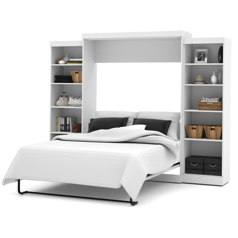 Best Bestar Pur 115 Queen Wall Bed With Storage In White 400 x 300