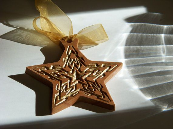 Wooden Ornament Gold Star by PalmerUnionDesign on Etsy, $10.00