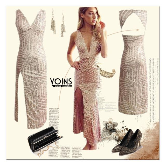 """""""Bandage Sequin Plunging Neck High Split Maxi Dress"""" by ilona-828 ❤ liked on Polyvore featuring yoins and yoinscollection"""