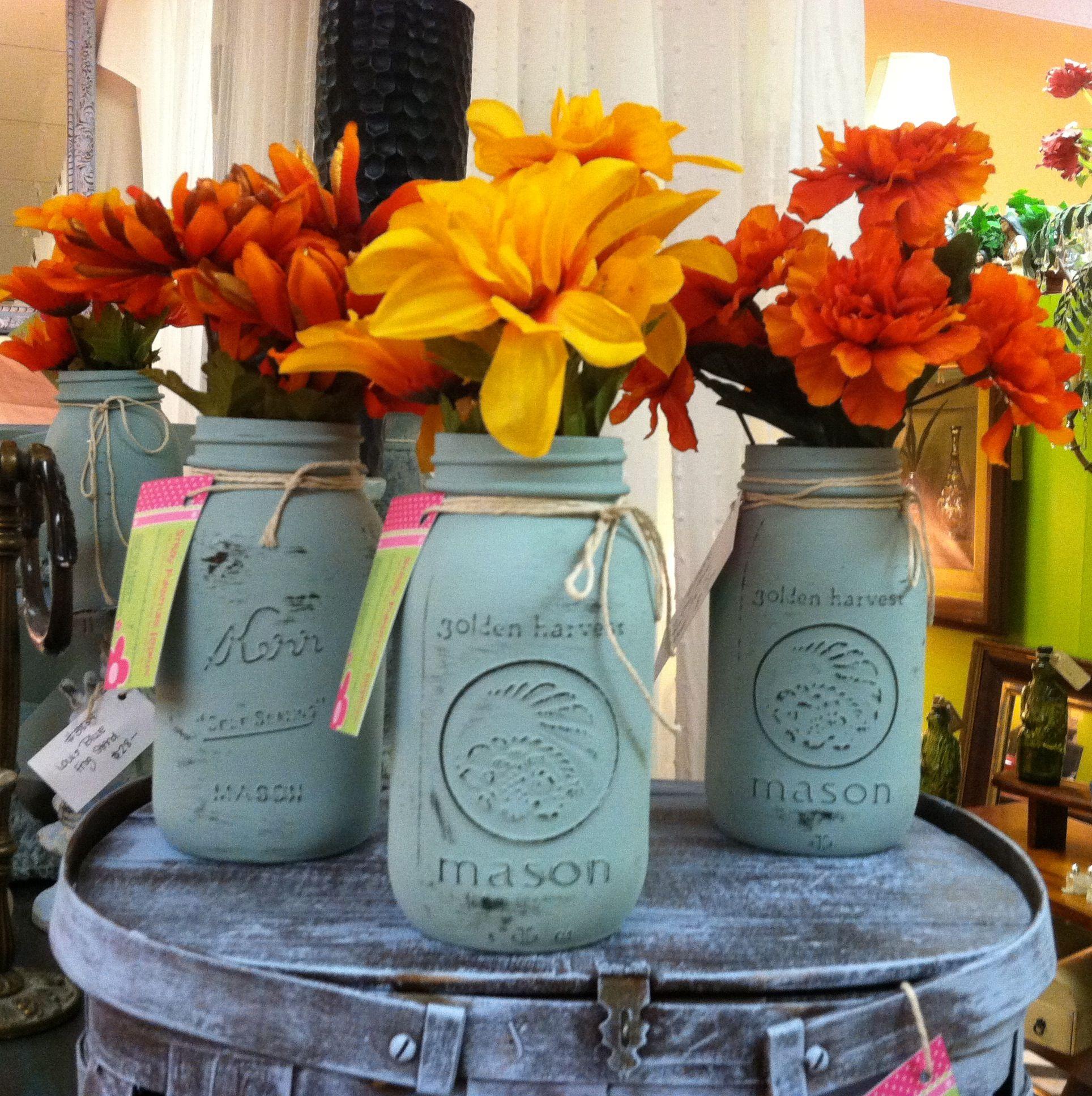 Painted Mason Jars, ASCP, Fall Decor, DIY, Stray Furniture