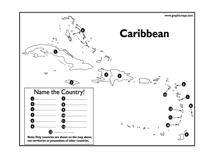 Page 1 - Caribbean Map Test.docx | Geography | Island map, Map quiz ...