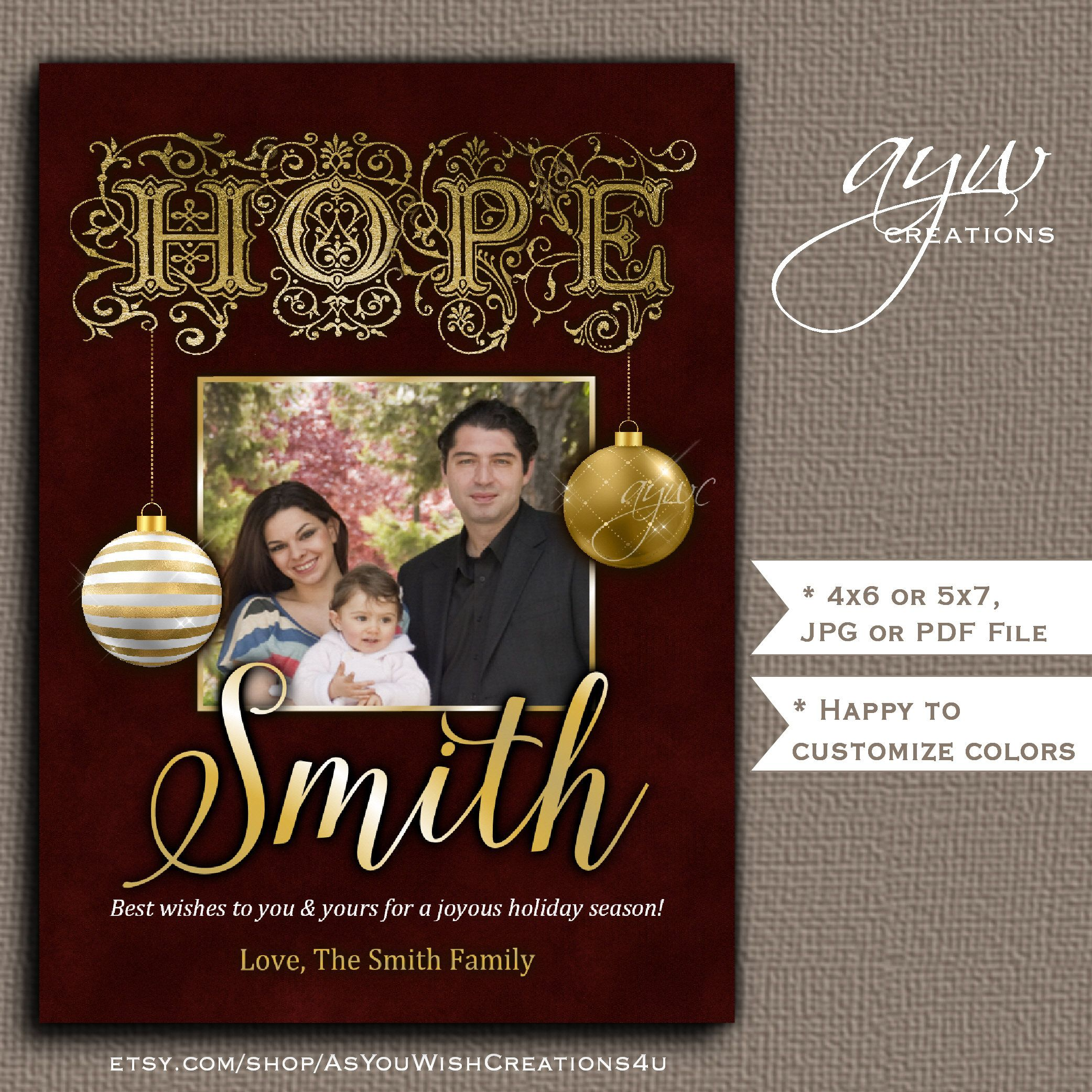 Hope Christmas Card Printable With Ornaments And Family Name With 1