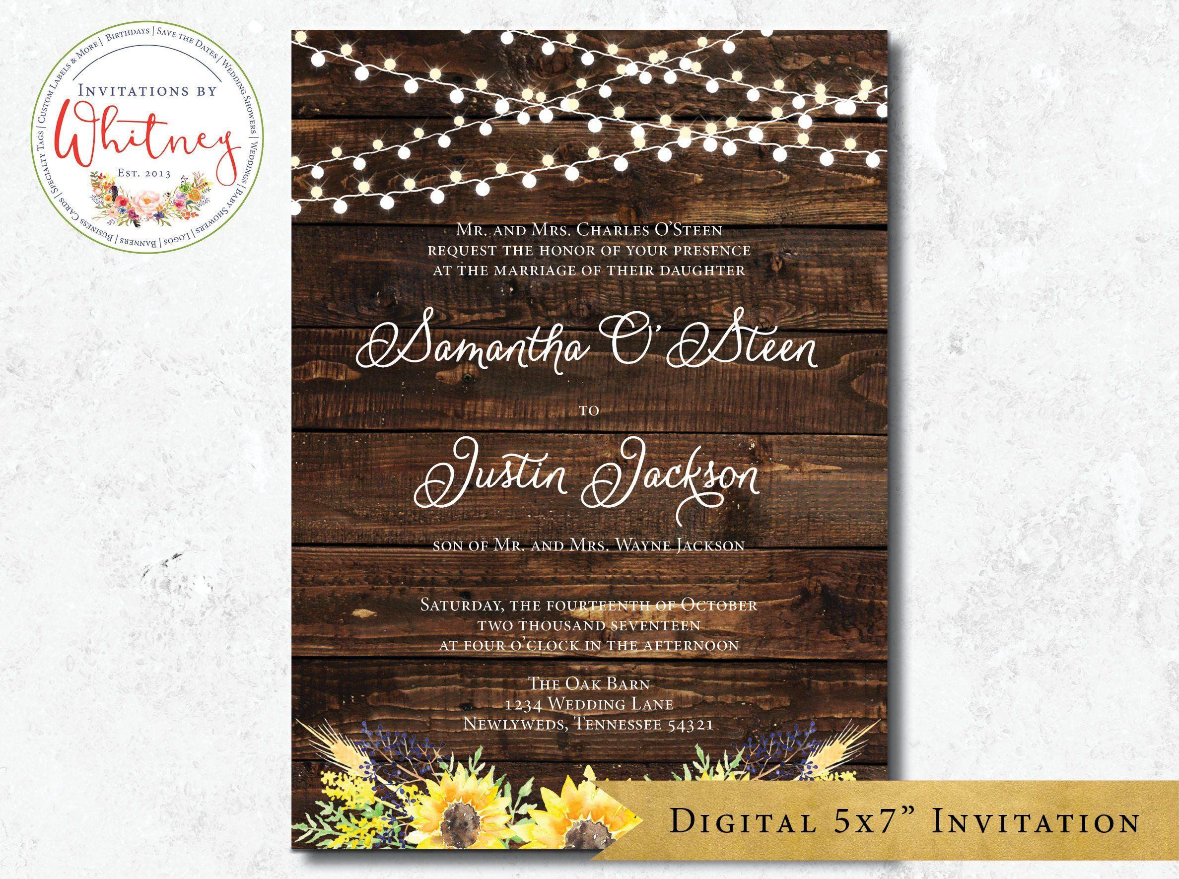 Sunflower Wedding Invitation Rustic Wedding Invitation Etsy Wedding Invitations Rustic Sunflower Wedding Invitations Etsy Wedding Invitations