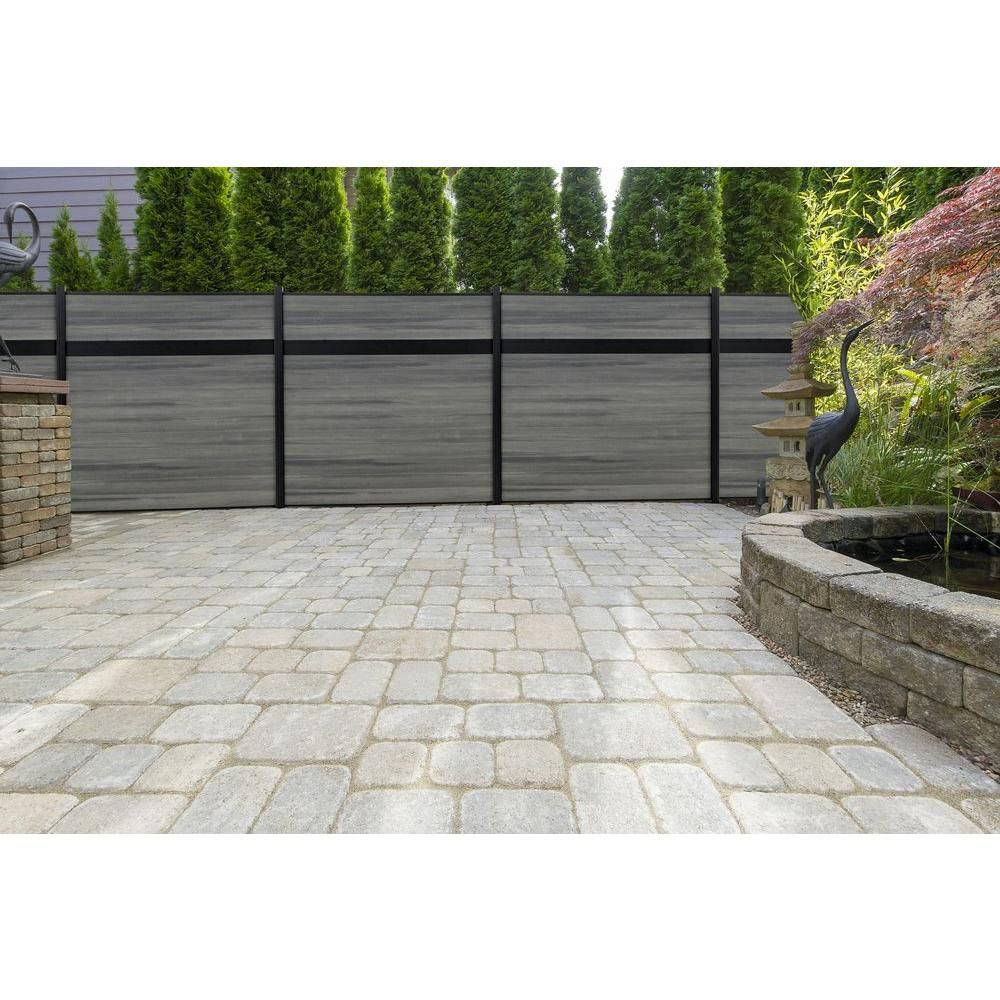 Veranda Euro Style 6 Ft H X 6 Ft W Estate Oxford Grey Aluminum Composite Horizontal Fence Section Ef 01400 The Home Depot Horizontal Fence Fence Design Fence Gate Design