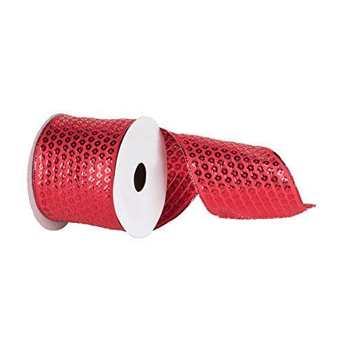 2.5 inch Red Metallic Dot Christmas and Craft Ribbon. 2.5 inch Wide x 10 Yards in Length Wire Edged to allow Bending and Shaping.