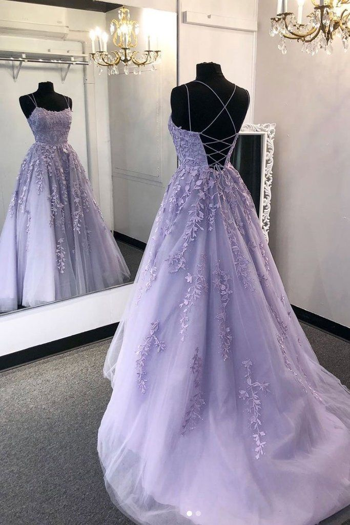 2020 Purple tulle lace long prom dress lace tulle formal dress