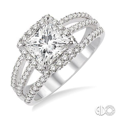 Princess Cut Diamond Engagement Ring With Halo Setting And