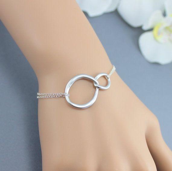Double Circle Eternity Bracelet Sterling Silver by JewelryStyles