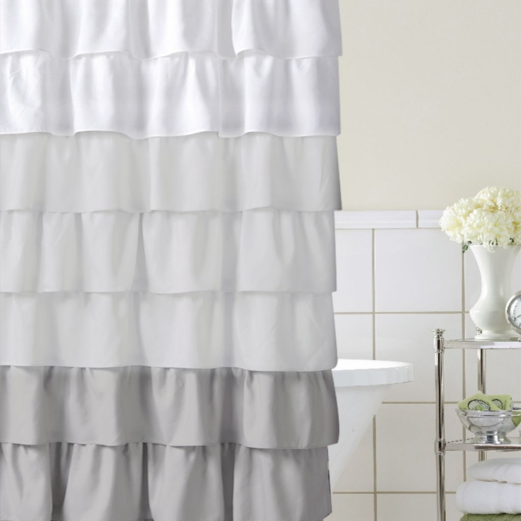 Home Classics Ruffle Ombre Fabric Shower Curtain Fabric Shower Curtains Ombre Shower Curtain Ruffle Shower Curtains