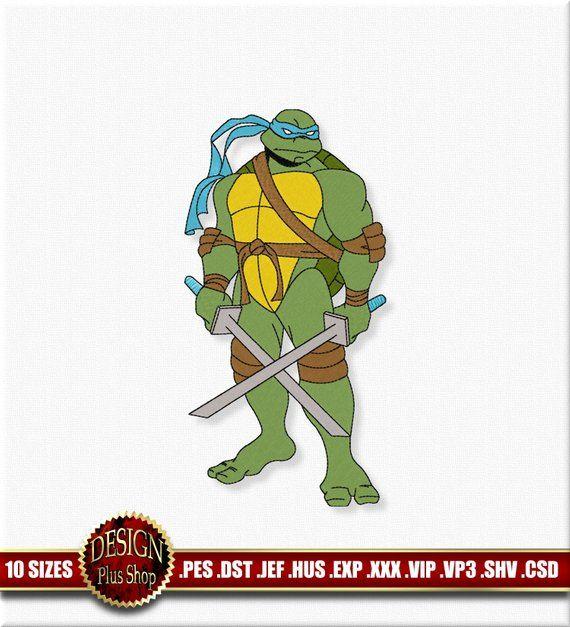 Teenage Mutant Ninja Turtles Embroidery Design Fill Stitch Digitized