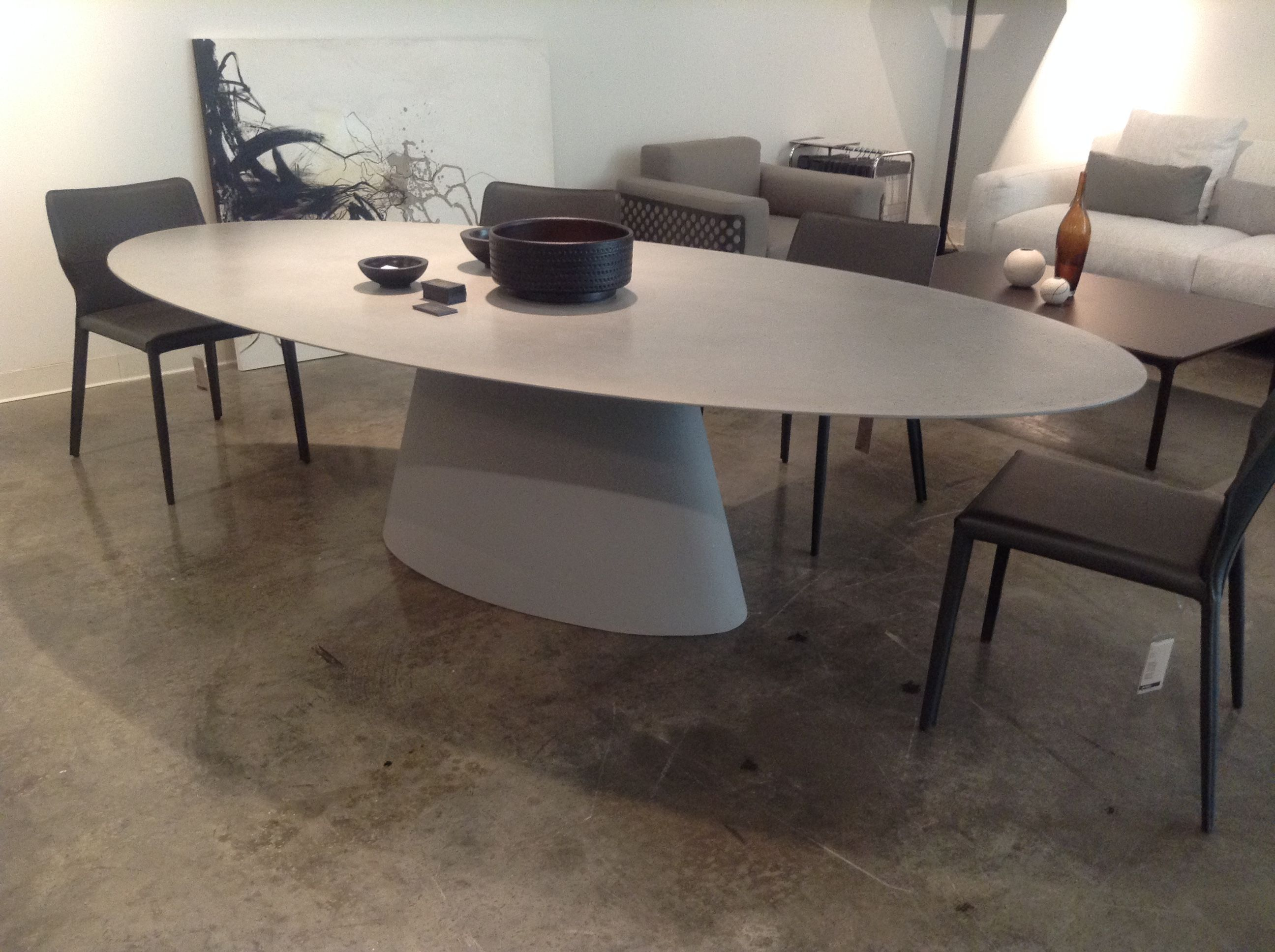 """The """"Halley"""" table by Airnova in showroom 301 at #220Elm. Table top is  featured in a cement finish. #HPMKT   Hpmkt, Table, Table top"""