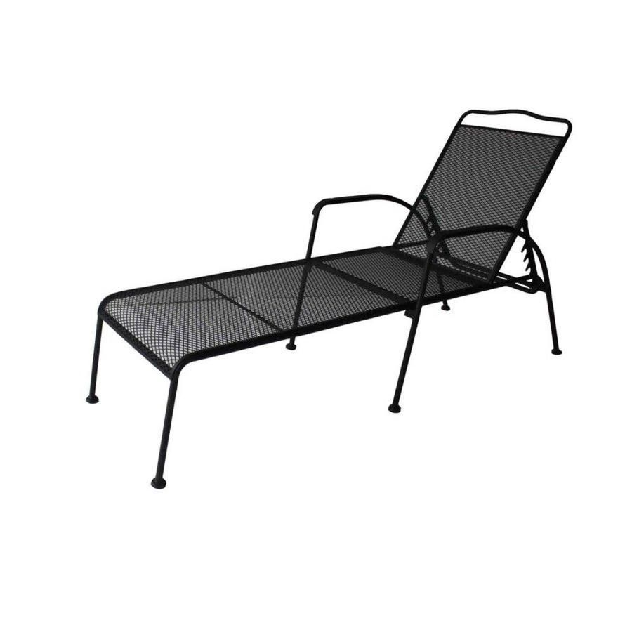 Garden Treasures Davenport Black Steel Mesh 5 Position Patio Chaise Lounge Chair