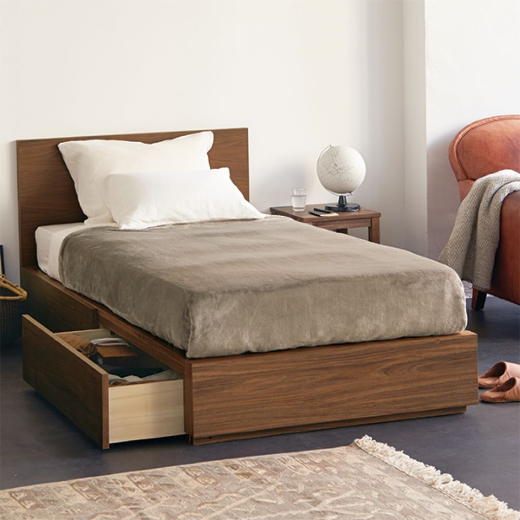 Muji Walnut Single Twin Storage Bed Muji Bed Muji Home