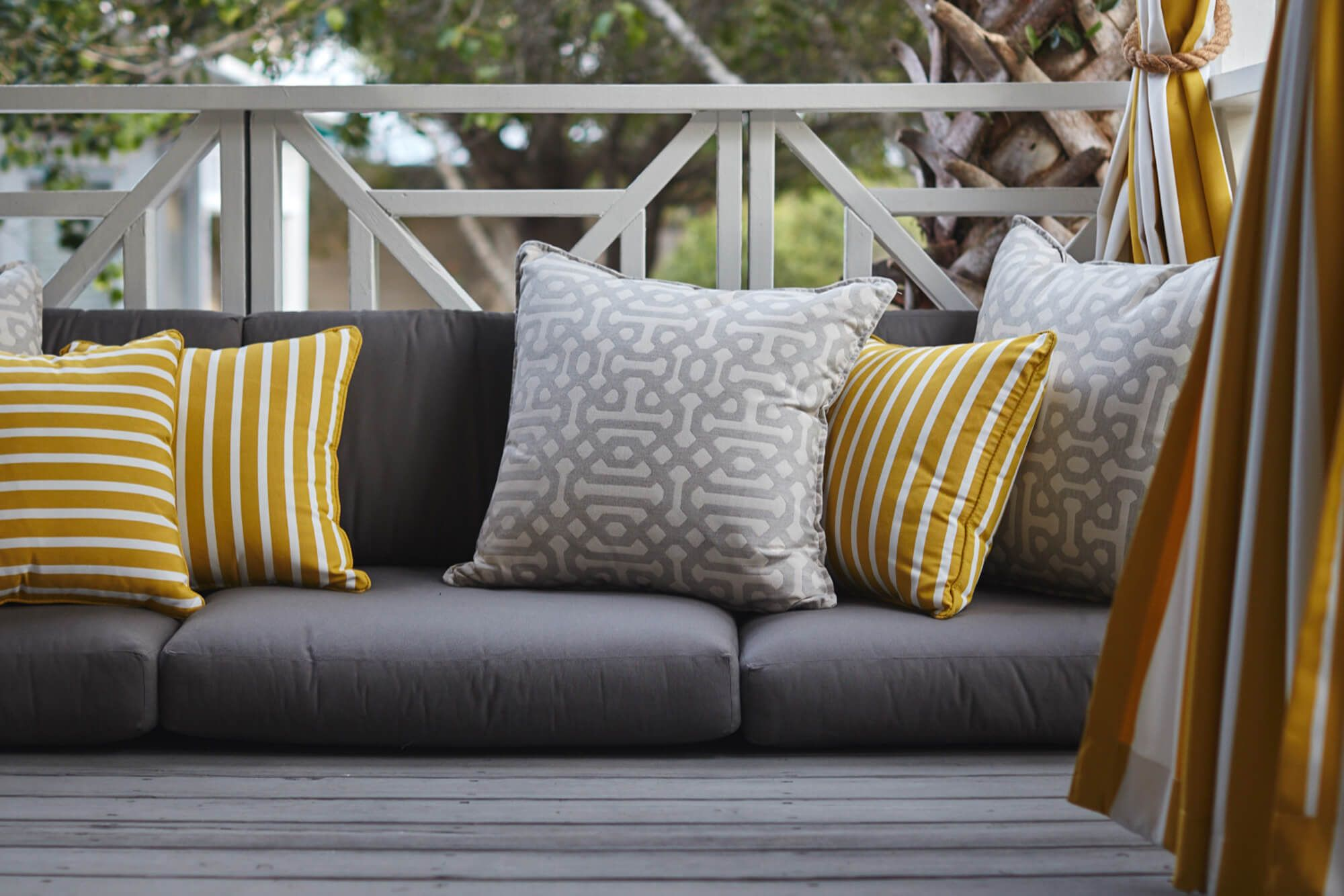 Sofa Repair Jakarta Outdoor Cushions With Yellow Accent Pillows Deck Pinterest