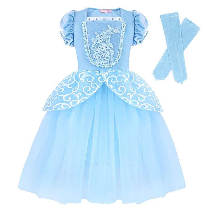 Kids Girls Cinderella Costume Birthday Halloween Party Princess Fancy Dress Up