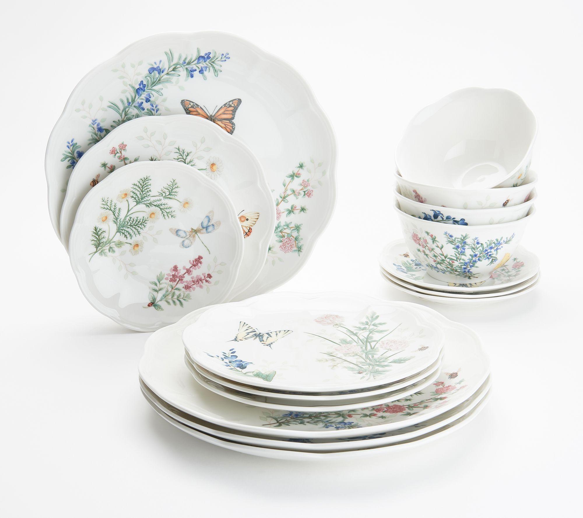 Lenox 16pc Porcelain Erfly Meadow Dinnerware Set Home