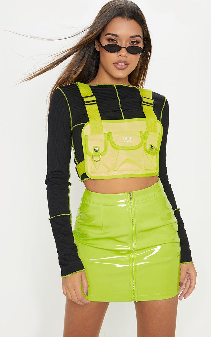 677ffbfcfc Neon Lime Vinyl Mini Skirt in 2019   TREND REPORT FEB 2019   Vinyl ...