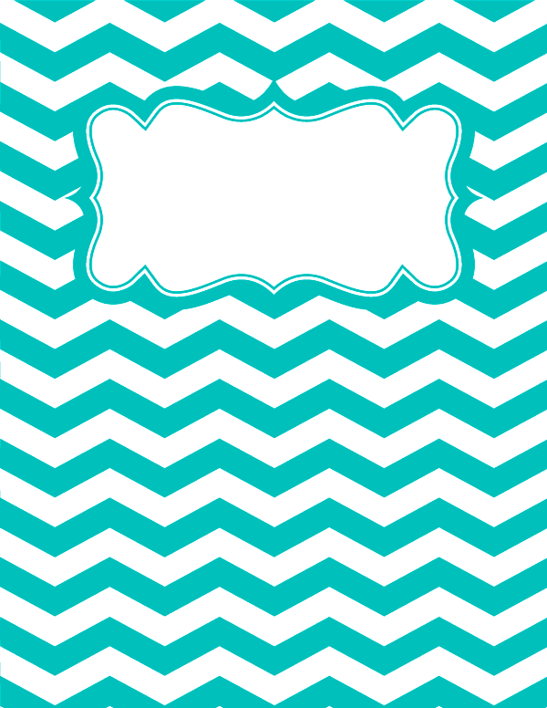 Free printable turquoise and white chevron binder cover template ...