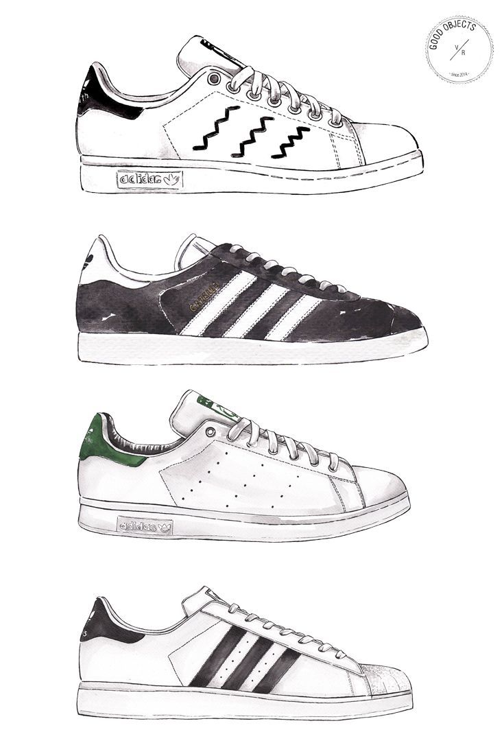 Good objects Adidas Gazelle shoes #goodobjects #watercolor
