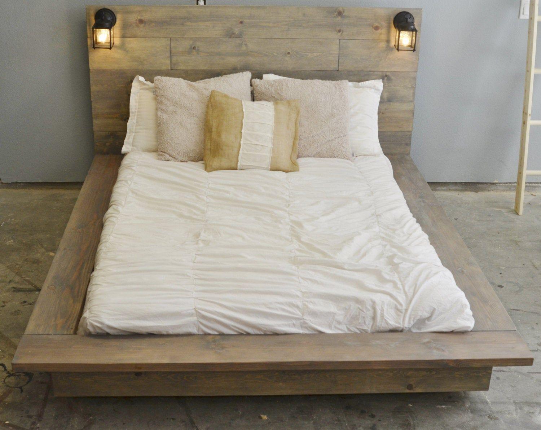 Floating Wood Platform Bed frame with Lighted image 4