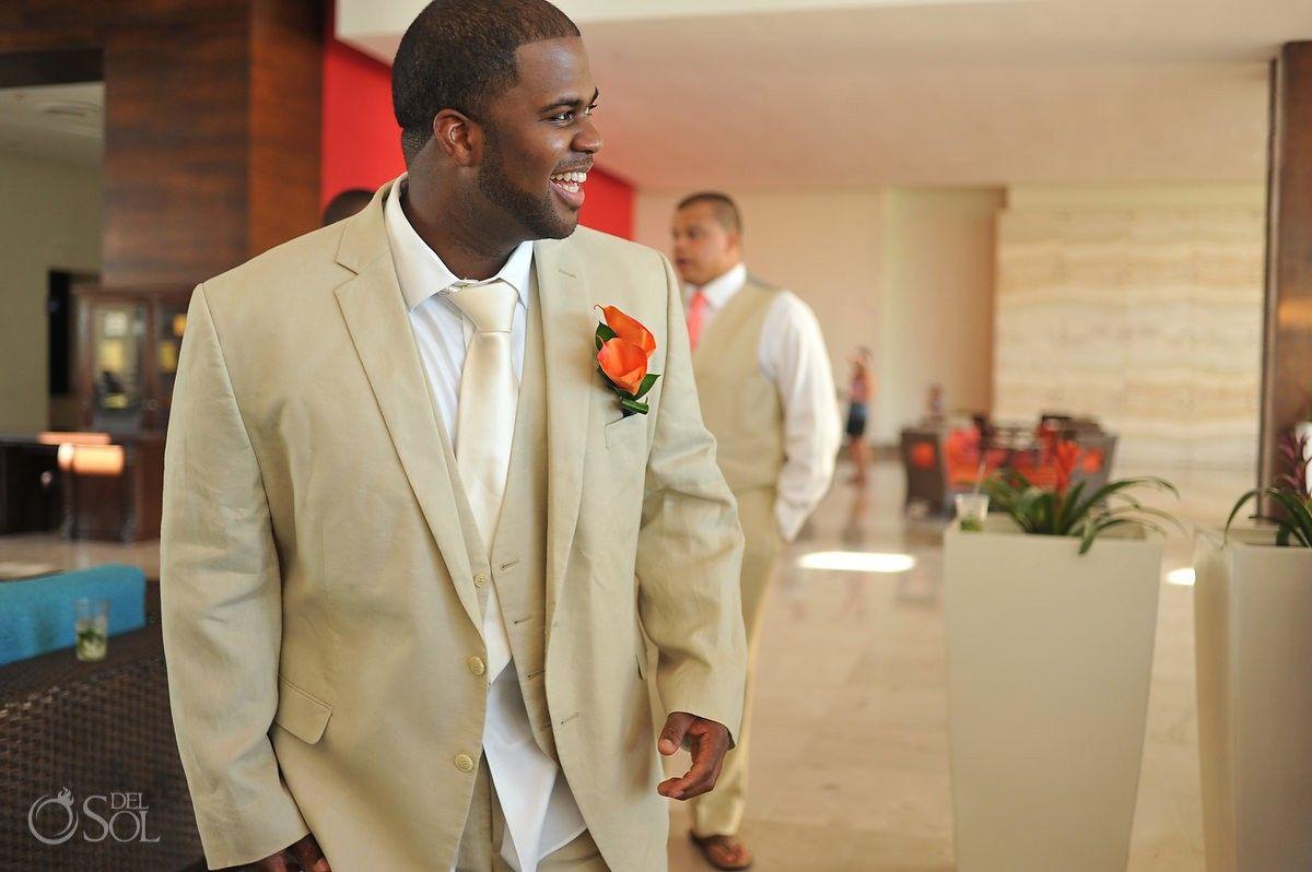 Riviera Maya Wedding at Now Jade, stylish groom in his cream suit ...