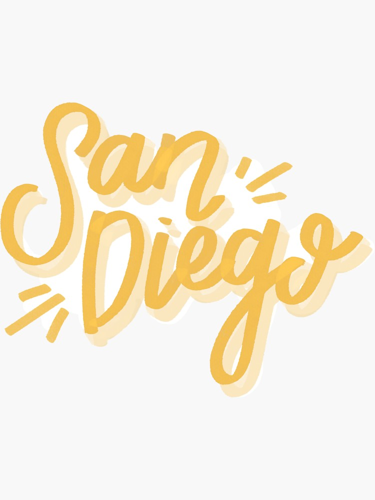 San Diego Sticker By Ehoehenr Redbubble Graphic Design Clients Typography Inspiration Typography